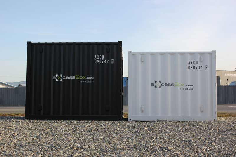 Black and white shipping containers storage