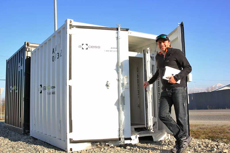 Door shipping container storage axcess box