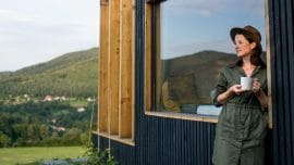 young woman outdoors-Shipping Container Home